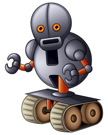 Gray robot cartoon isolated on white background