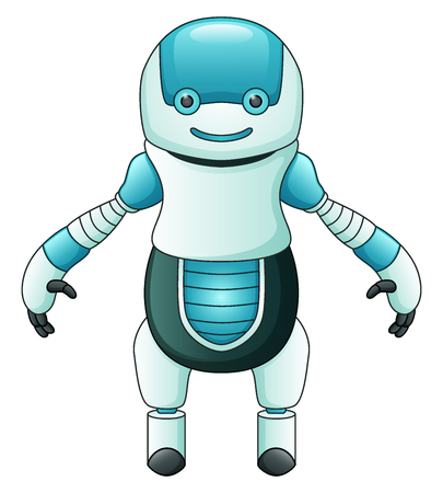 Cute cartoon blue robot isolated on white background Stock Photo