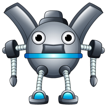 Cartoon robot character isolated on white background
