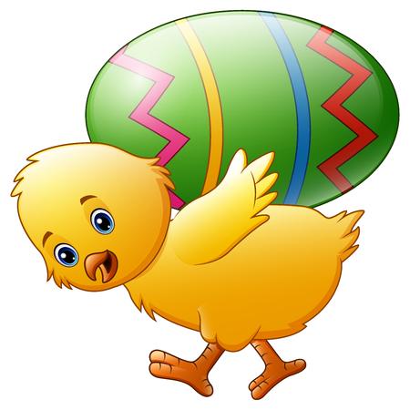 Ilustración de vector de dibujos animados feliz pollo llevando huevo.