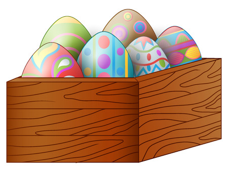 Vector illustration of Easter colorful eggs in a brown wooden box