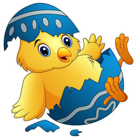 Vector illustration of Cute little cartoon chick hatched from an egg isolated on a white background Çizim