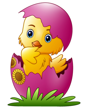Vector illustration of Cute little cartoon chick hatched from an egg isolated on a white background  イラスト・ベクター素材