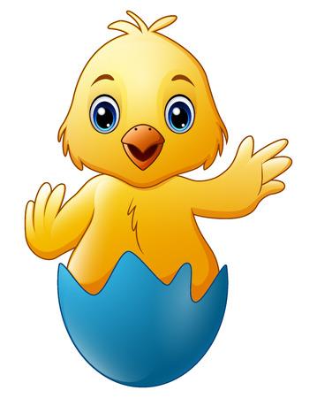 Cartoon little baby chicken in the blue broken egg shell Stock Photo