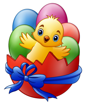 Cartoon little baby chicken with colored eggs in the red broken eggshell