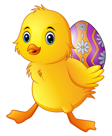 Vector illustration of Cute little duck carrying a decorated egg