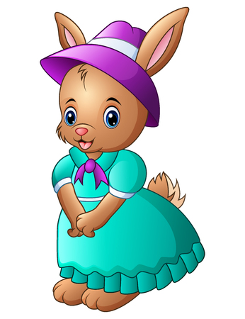Vector illustration of Cartoon rabbit wearing blue dress with a purple hat