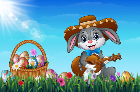Vector illustration of Easter bunny with a basket full of decorated Easter eggs in a field.
