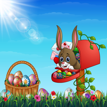 Vector illustration of Easter bunny out from of the mailbox with Easter basket full of decorated Easter eggs in a grass field