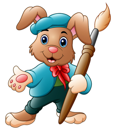 Vector illustration of Cartoon rabbit painter holding brush