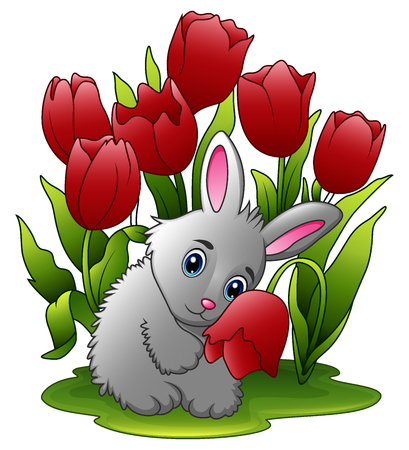 Cartoon rabbits with flowers on a white background
