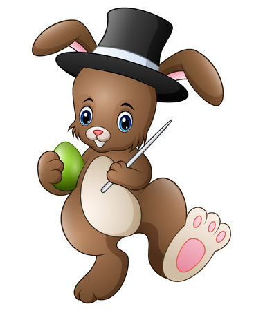 Cartoon rabbit magician wearing a hat with holding magic wand and egg Illustration