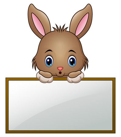 Cartoon little bunny holding an empty sign  イラスト・ベクター素材