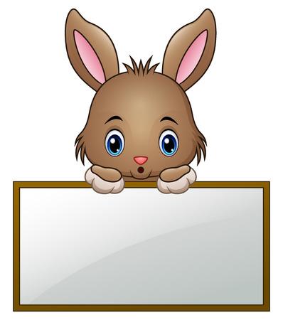 Cartoon little bunny holding an empty sign Vettoriali