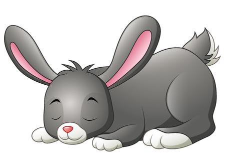 Sleeping bunny isolated on a white background Illustration