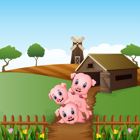 Cartoon three little pigs playing in the farm background Vector illustration.
