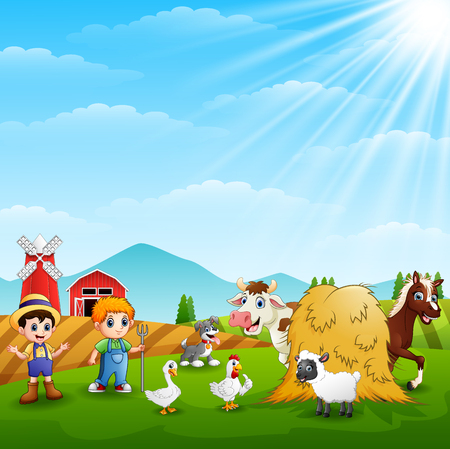 The farmers keeping the animals on the hill Illustration