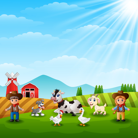 The cowboy and cowgirl at the farm with animals Vector illustration.