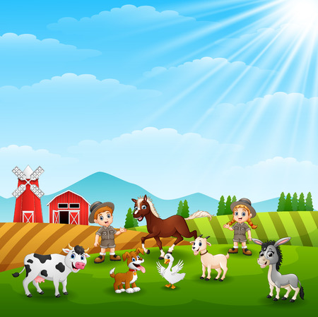 Zookeepers are keeping animals in farm Vector illustration.