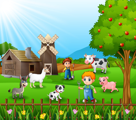 The farmers working in farm with the animals Vector illustration.