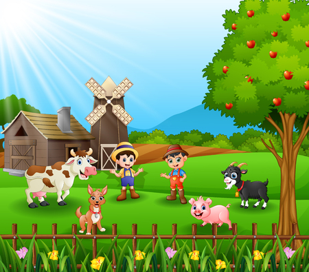 Young farmers activities with animals Vector illustration. Illustration