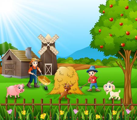 Farming activities on farms with animals Vector illustration. Illustration