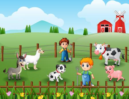 The farmers keeping animals at farm Vector illustration. Vettoriali