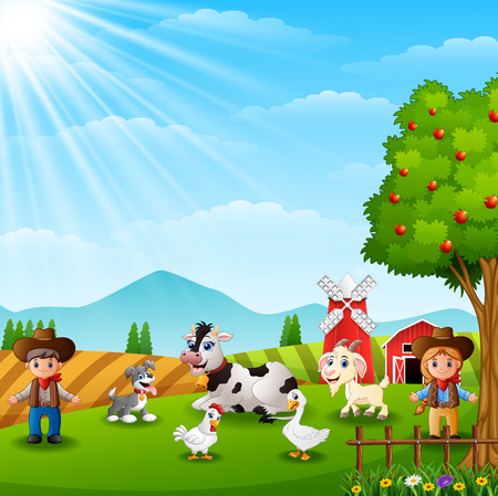 The cowboy and cowgirl at the farm with animals