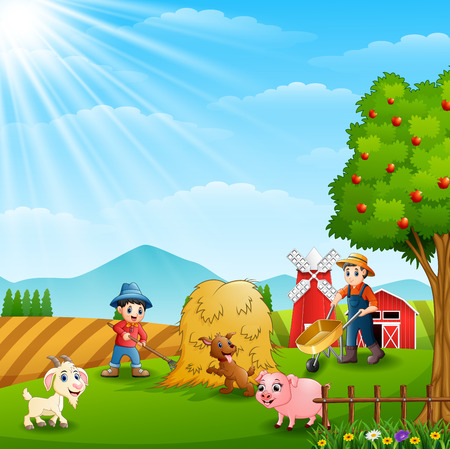 Farming working on farms with animals