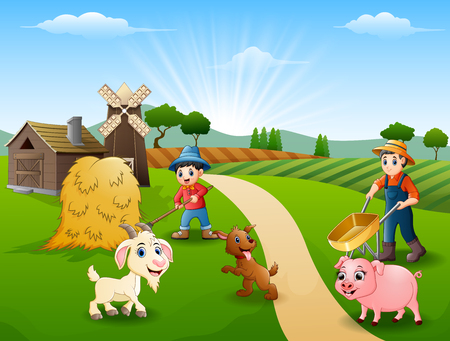 Farming activities on farms with animals in front of the cage
