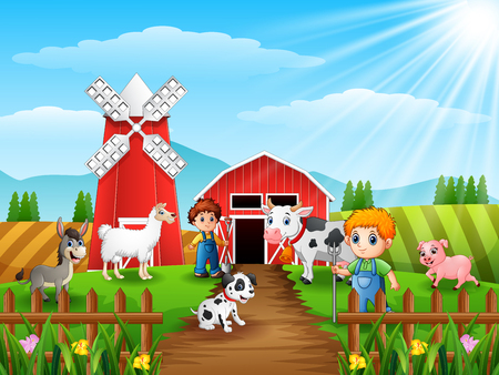 The farmers keeping animals in farm