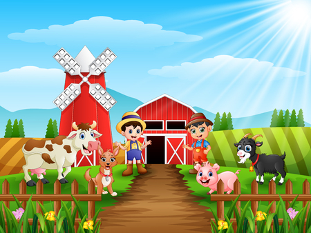 Young farmers activities with animals on farm