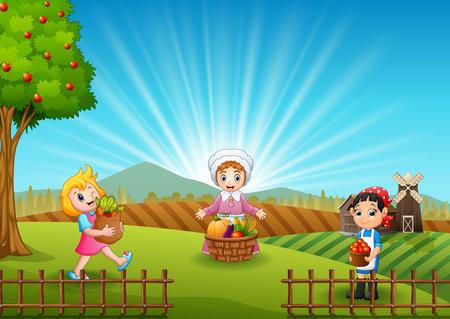 Women farmers are harvesting