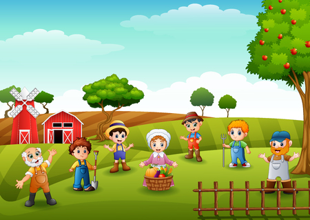 Group farmers and gardener at the farm