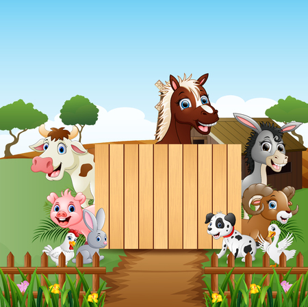 Farm animals with the blank sign wood 向量圖像