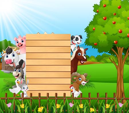 Blank sign board with happy animals 版權商用圖片 - 99625291