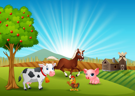 Farm animals activity in the morning Hình minh hoạ