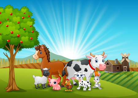 Happy animals on farm background Hình minh hoạ