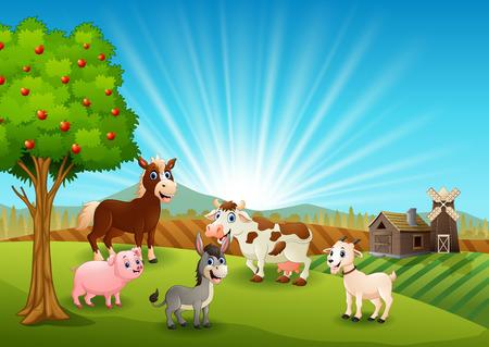 Happy farm activity in morning