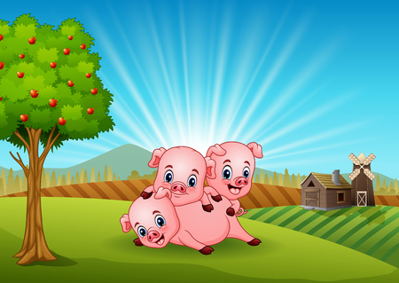 Three little pig playing in the farm