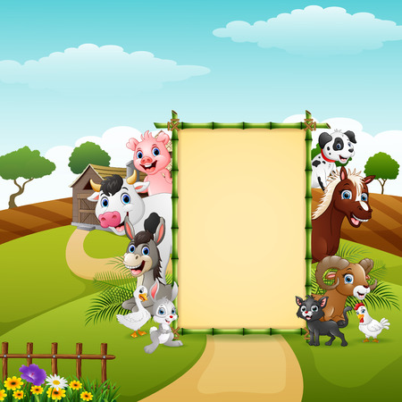 Happy farm animals with blank sign bamboo Illustration