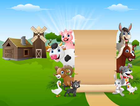 Happy farm animals with a blank sign paper 向量圖像
