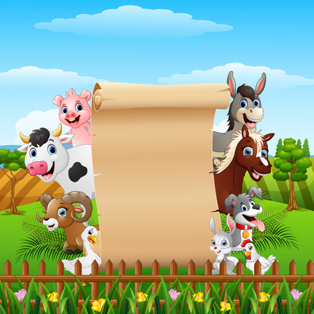 Animals farm cartoon with blank sign roll up