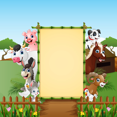 Happy animals farm with blank sign