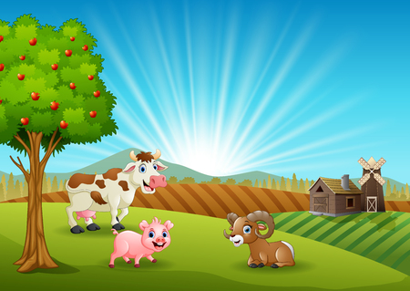 Happy farm animals in the morning