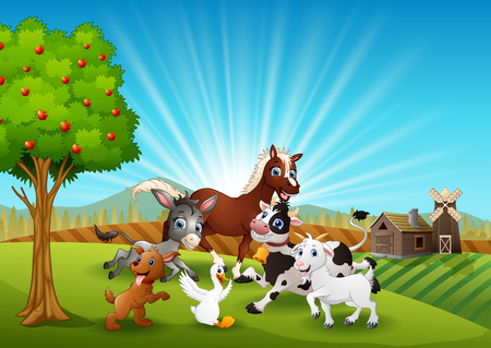 The farm animals playing together in the morning