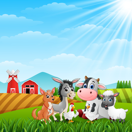 Cute animals farm in the hills 向量圖像