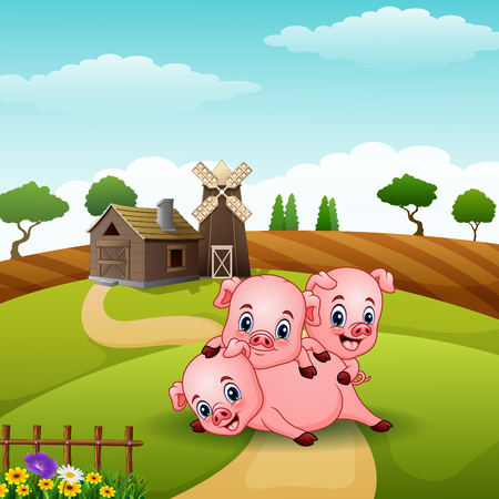 Three little pigs playing together