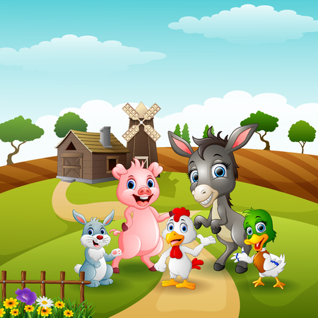 Happy little animals farm in the path