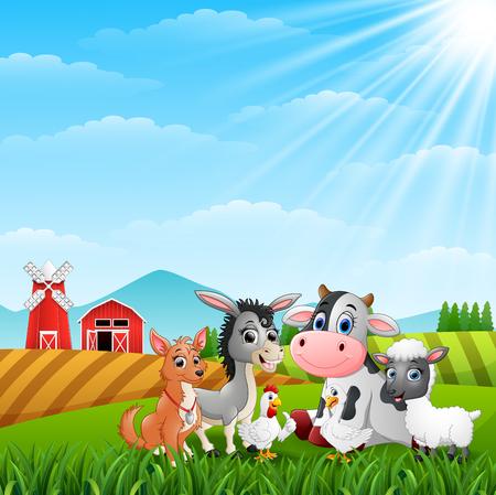 Cute animals farm in the hills Stock Photo